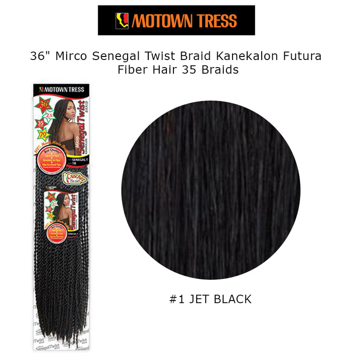 "36"" Mirco Senegal Twist Braid Kanekalon Futura Fiber Hair 35 Braids-#1 Jet Black"