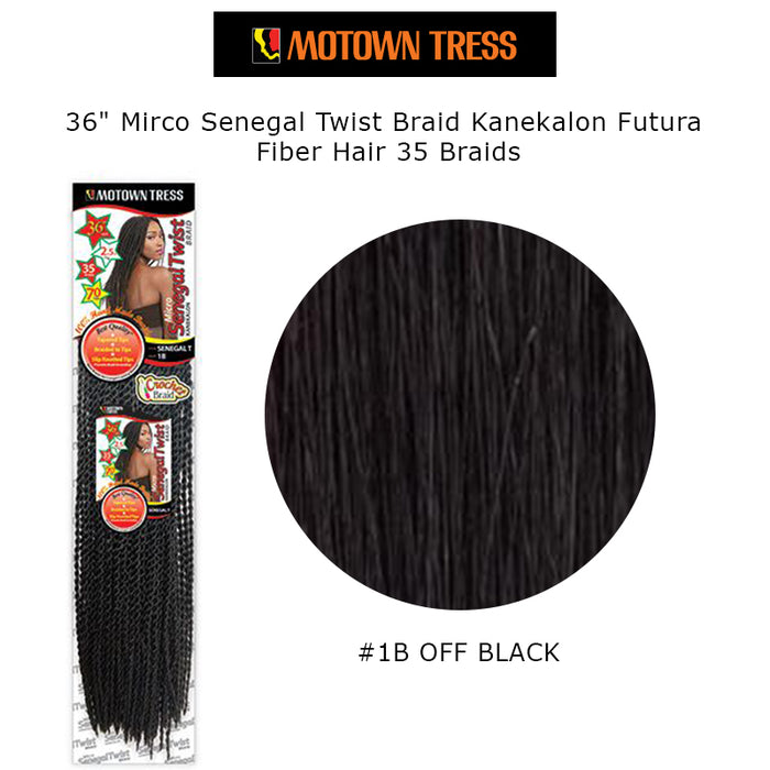 "36"" Mirco Senegal Twist Braid Kanekalon Futura Fiber Hair 35 Braids-#1B Off Black"