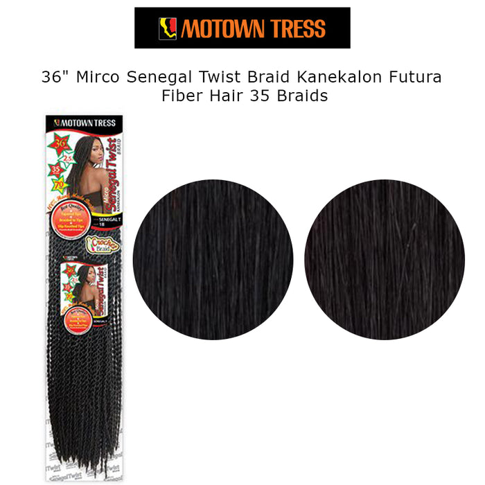 "36"" Mirco Senegal Twist Braid Kanekalon Futura Fiber Hair 35 Braids"