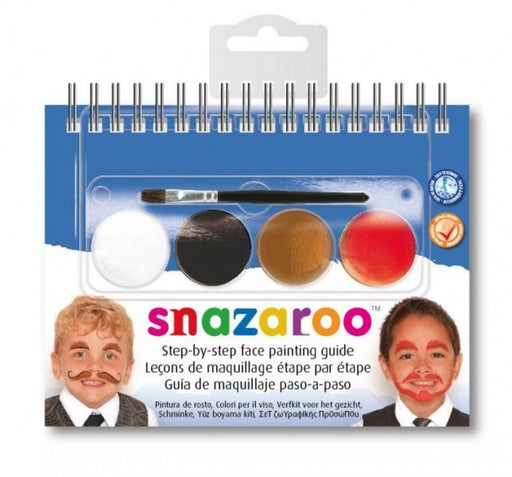 Snazaroo Moustaches 2 Step A6 Guide Booklet with 4 Face Paints & Brush