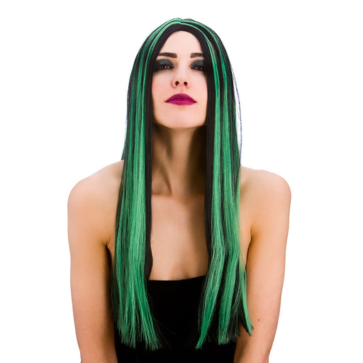 Ladies Halloween Bewitched Black & Green Witch Wig Fancy Dress Accessory