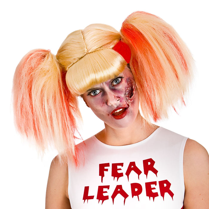 Ladies Blonde Pigtails Zombie Cheerleader School Girl Wig Fancy Dress Accessory