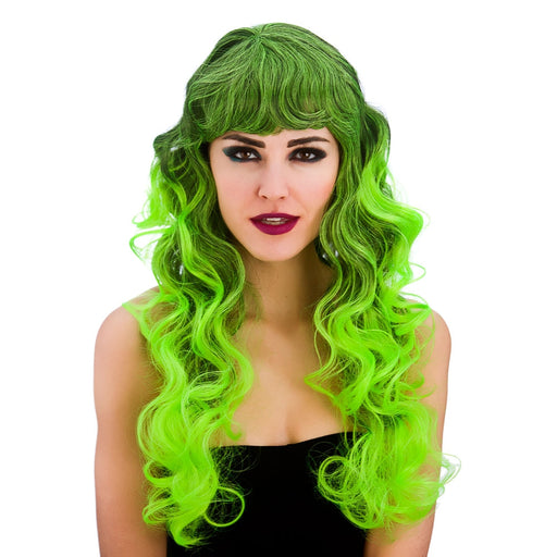 Ladies Halloween Spellbound Black & Green Wig with Fringe Fancy Dress Accessory