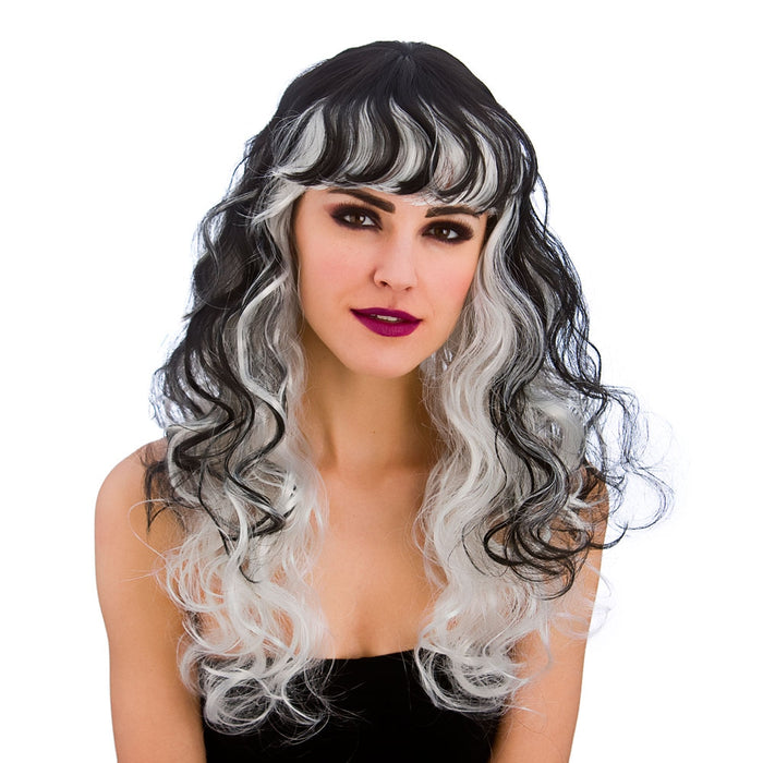 Ladies Halloween Spellbound Black & Silver Wig with Fringe Fancy Dress Accessory