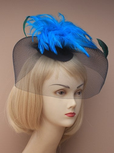 Large Black Net Fascinator On Clips With Bright Feathers-Blue