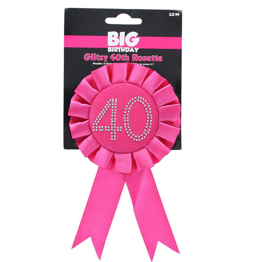 40th Pink Glitzy Birthday Rosette Badge With Diamante Stones