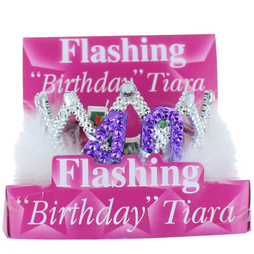 40th Birthday Flashing Tiara with White Fur Trim Party Accessory