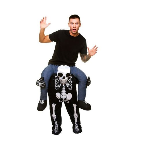 Adults Halloween Skeleton Shoulder Carry Me Ride On Piggy Back Fancy Dress Costume