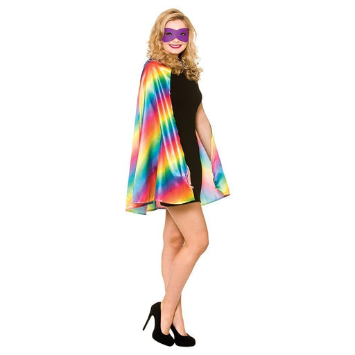 Unisex Gay Pride Rainbow Multi Coloured Superhero Cape & Mask Fancy Dress