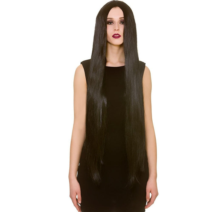 "Adults Ladies Black Extra Long Straight 39"" Wig Halloween Fancy Dress Accessory"