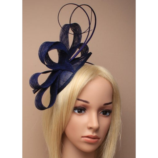 Navy Fascinator on Headband/ Clip-in for Weddings, Races and Occasions-5476