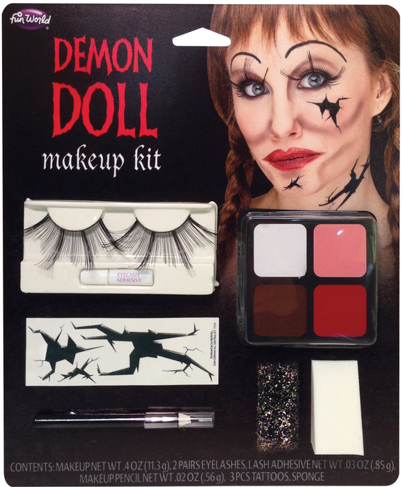 Halloween Demon Doll Face Paint Make Up Kit with Eyelashes and Tattoos