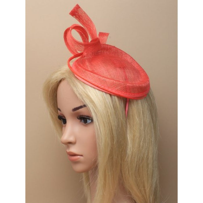 Coral Fascinator on Headband/ Clip-in for Weddings, Races and Occasions-5891