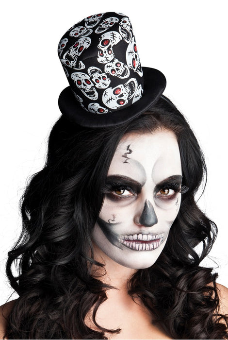 Halloween Day Of The Dead Mini Skull Top Hat On Headband Fancy Dress Accessory