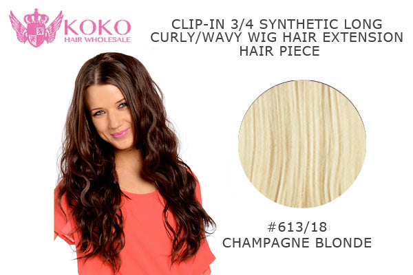 26�� Clip-In 3/4 Synthetic Long Curly/Wavy Hair Extension Piece-#613/18 Champagne Blonde