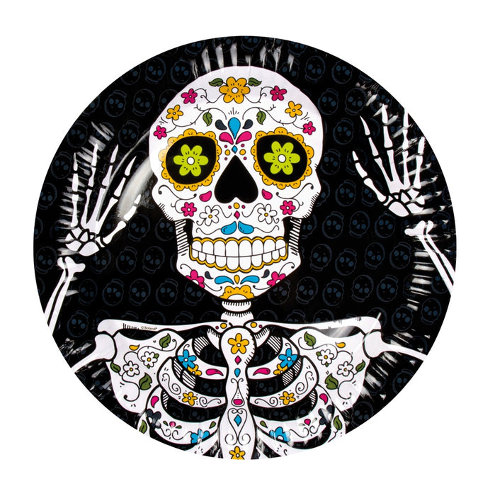 Halloween Day Of The Dead Pack of 6 Black Paper Plates