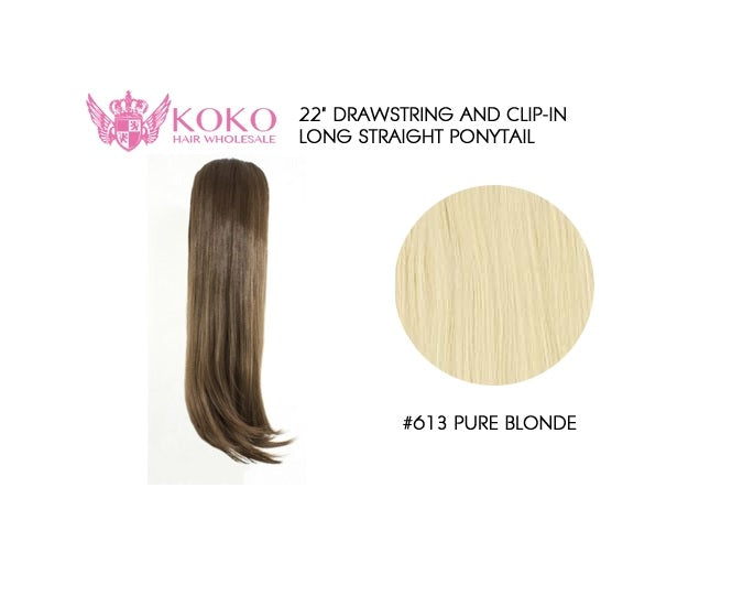 "22"" Drawstring And Clip-In Long Straight Ponytail Extension Hair Piece-#613 Light Blonde"