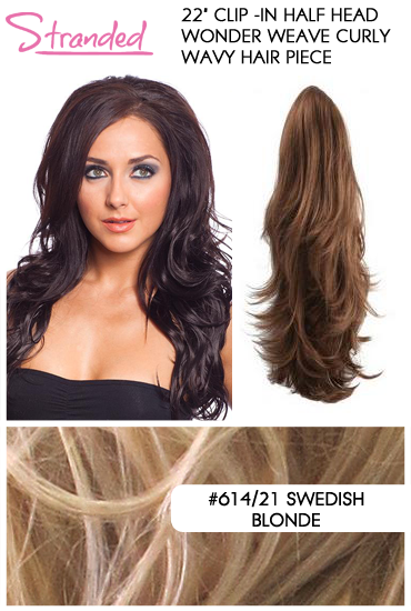 "22"" Clip -In Half Head Wonder Weave Curly Wavy Hair Piece-#614/21 Swedish Blonde"