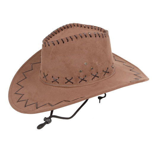 Wicked Adult's Brown Faux Suede Country Western Cowboy Hat Fancy Dress Accessory