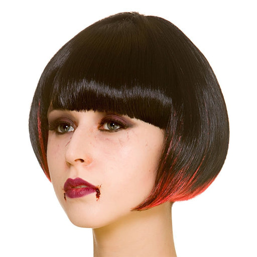 Adults Ladies Vampire Short Bob Black & Red Wig Halloween Fancy Dress Accessory