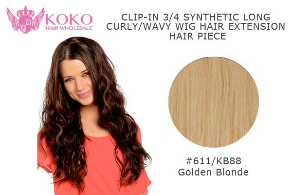"26""  Clip-In 3/4 Synthetic Long Curly Wavy Hair Extension Half Head Piece-#611/KB88 Golden Blonde"
