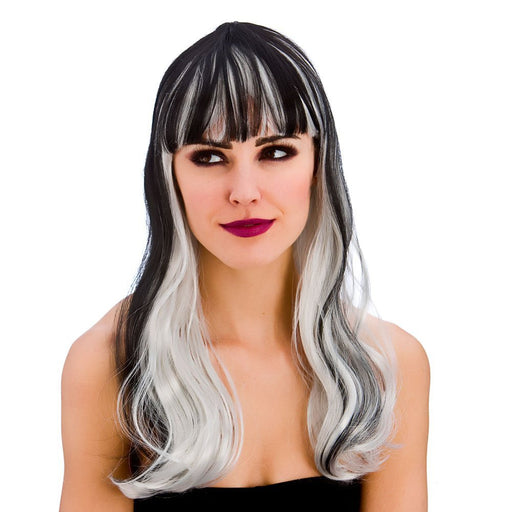 Adult Ladies Black & White Wavy Dark Fantasy Wig Halloween Fancy Dress Accessory