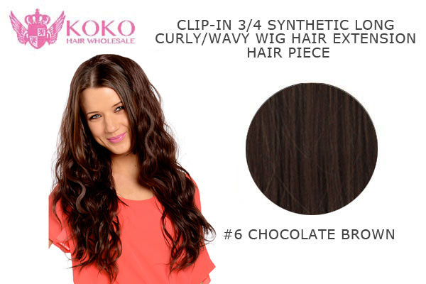 "26""  Clip-In 3/4 Synthetic Long Curly Wavy Hair Extension Half Head Piece-#6 Chocolate Brown"