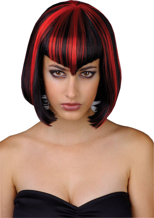 Ladies Halloween Vamp Babe Wig with Fringe Fancy Dress Accessory