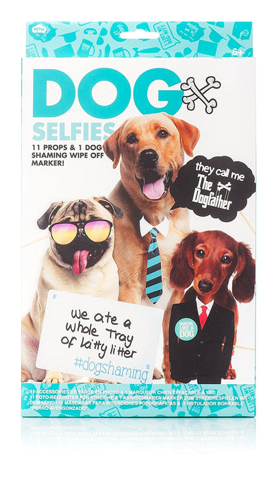 Novelty Dog Selfie Kit 11 Photo Props & 1 Wipe Off Pen