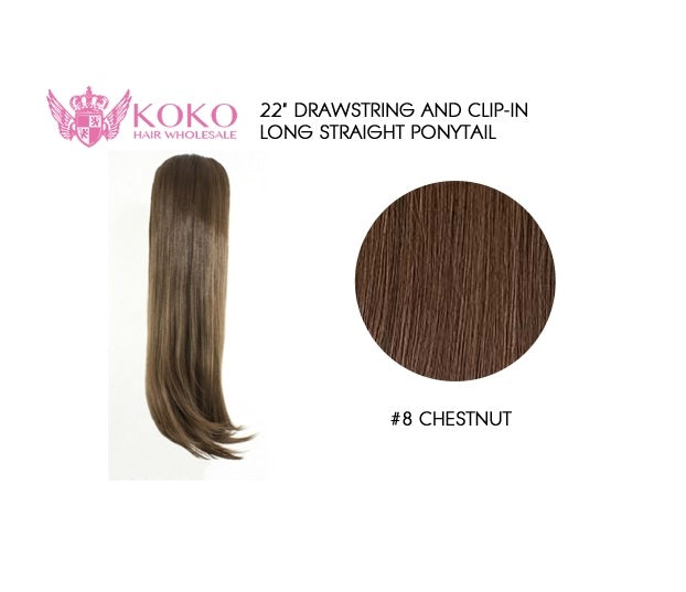 22 Drawstring And Clip In Long Straight Ponytail Extension Hair