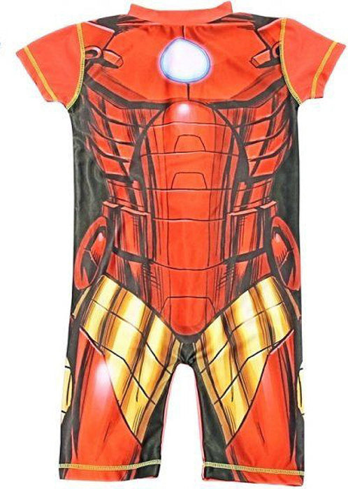 Boys Marvel Character Iron Man UV 50+ Protection Beach Swimming Costume Suit-1-2 Years