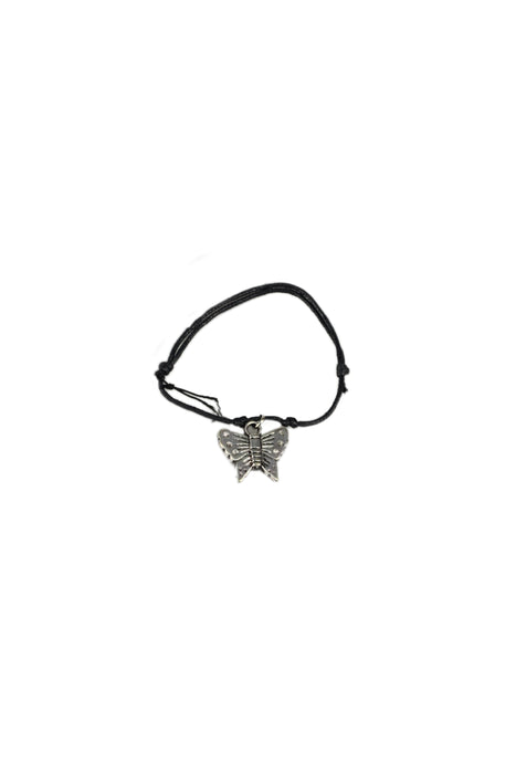 Double Row Corded Bracelet With Silver Charm-Black Cord With Butterfly Charm