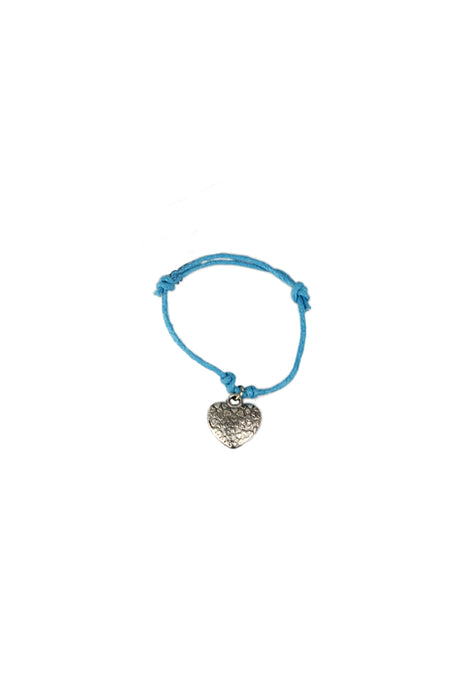 Double Row Corded Bracelet With Silver Charm-Blue Cord With Heart Charm