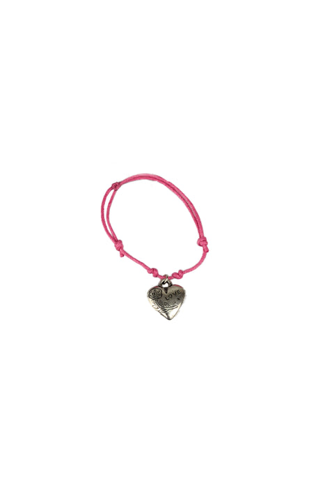 Double Row Corded Bracelet With Silver Charm-Pink Cord With Love Heart Charm