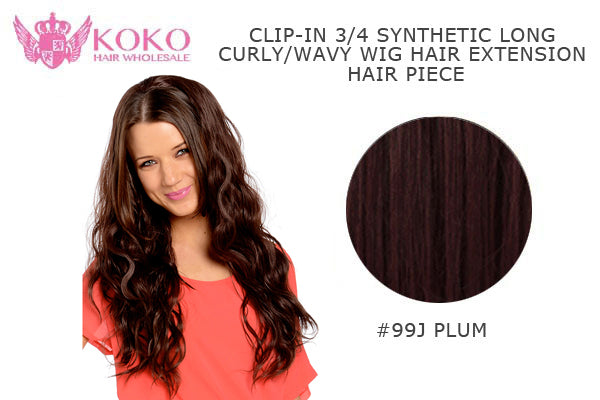 "26""  Clip-In 3/4 Synthetic Long Curly Wavy Hair Extension Half Head Piece-#99J Plum"