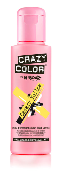 Crazy Color Renbow Semi-Permanent Hair Colour Cream Dye 100ml-Canary Yellow