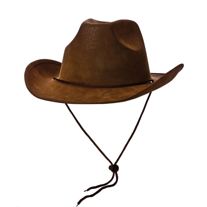 Brown Super Deluxe Faux Suede Country Western Cowboy Hat Fancy Dress Accessory