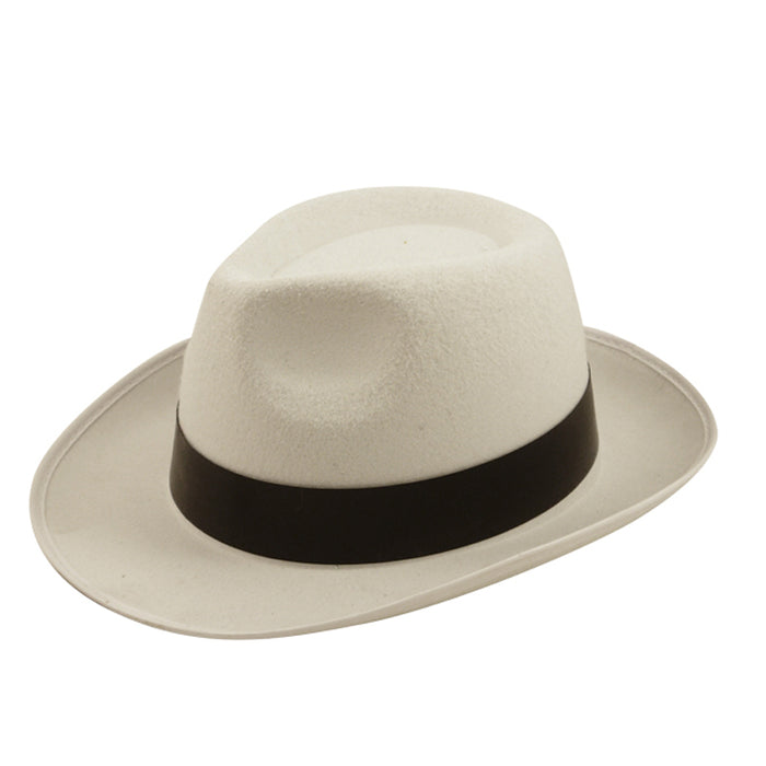 Adult Al Capone White Hat With Black Ribbon Fancy Dress Accessory