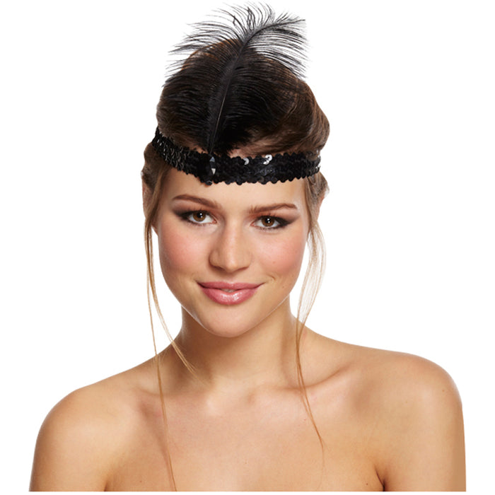 Adult Black 1920s Flapper Charleston Headband Fancy Dress Accessory