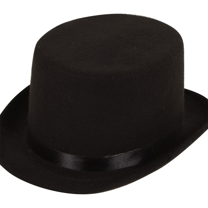 Adult Black Felt Top Hat Fancy Dress Accessory Party Novelty Ringmaster Magician