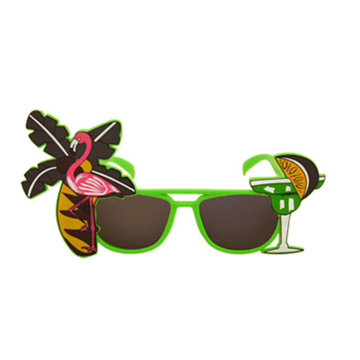 Adult Tropical Coloured Dark Lense Sunglasses Fancy Dress Accessory-Green
