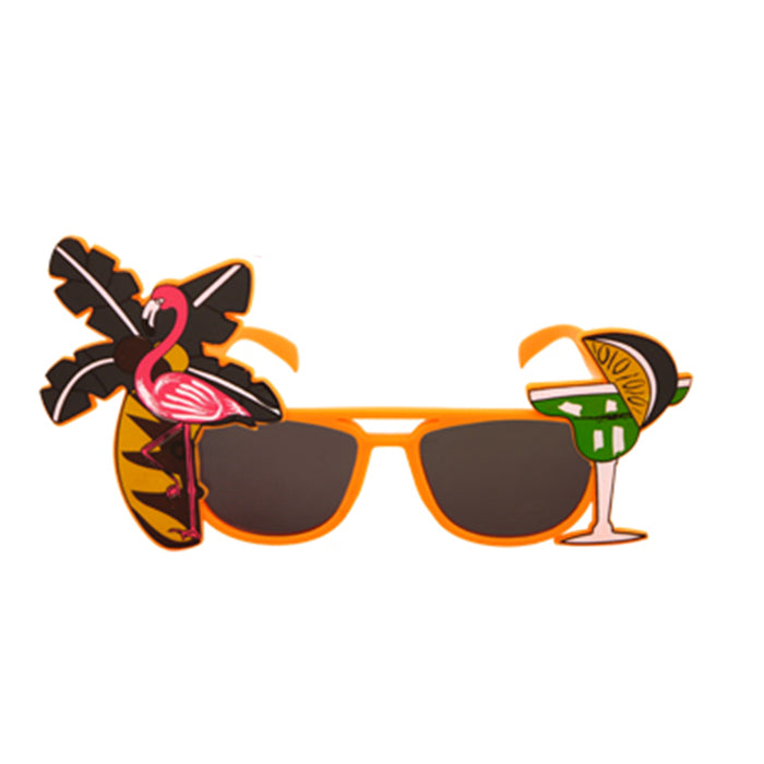 Adult Tropical Dark Coloured Lenses Glass Fancy Dress Accessory Party Novelty- Orange