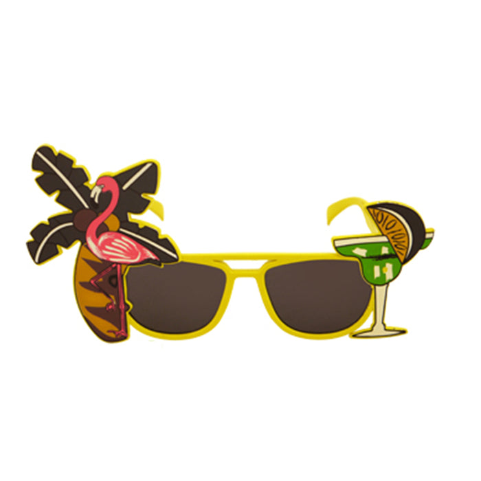 Adult Tropical Dark Coloured Lenses Glass Fancy Dress Accessory Party Novelty- Yellow