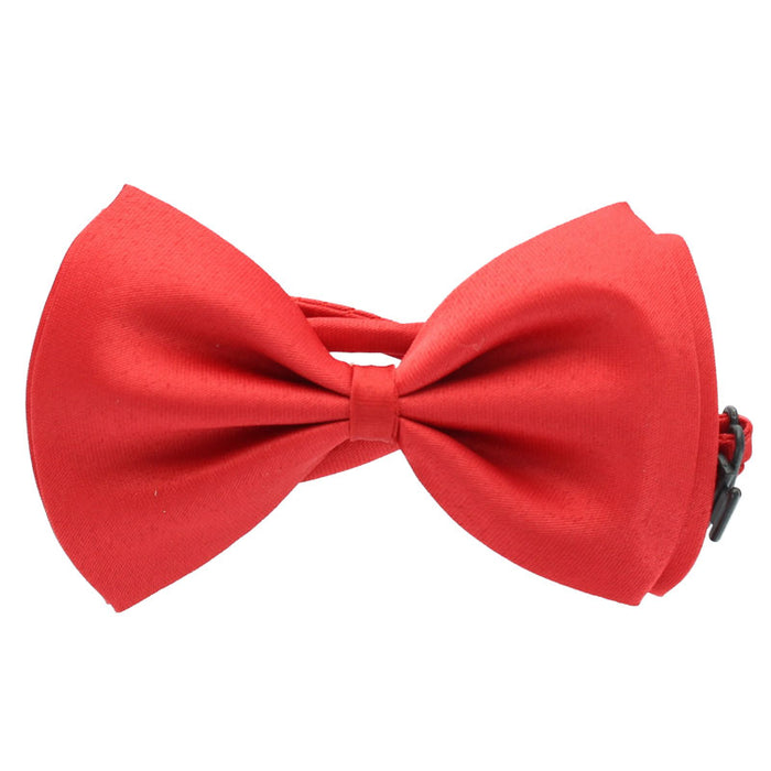 Adult Unisex Plain Satin Bow Tie Fancy Dress Accessory-Red