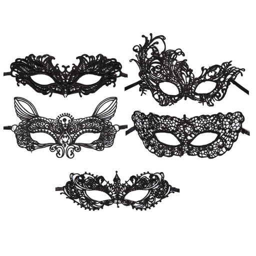 Adults Black Soft Lace Masquerade Eyemask Halloween Fancy Dress Accessory