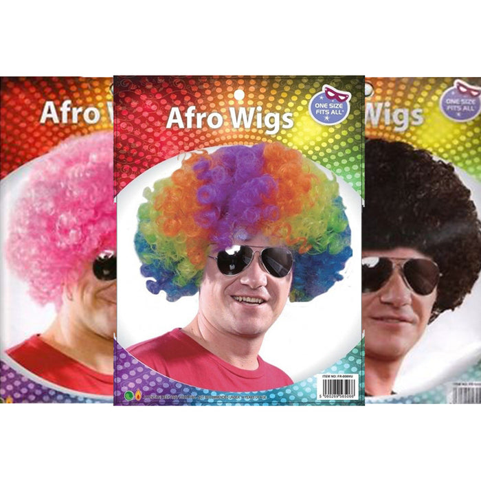 Adults Coloured Afro Wig Fancy Dress Accessory