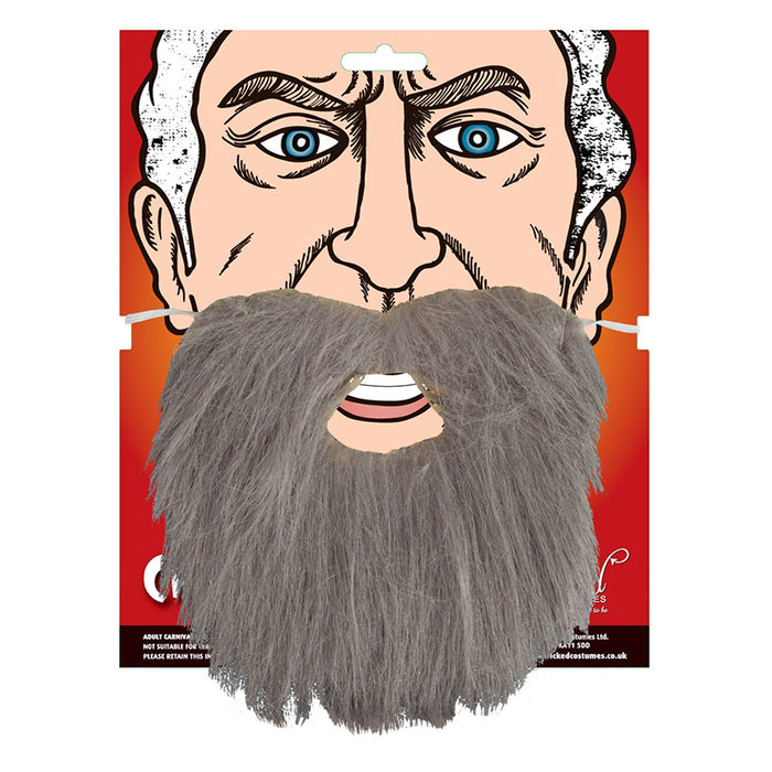Adults Elasticated Character Beard Fancy Dress Accessory-Grey
