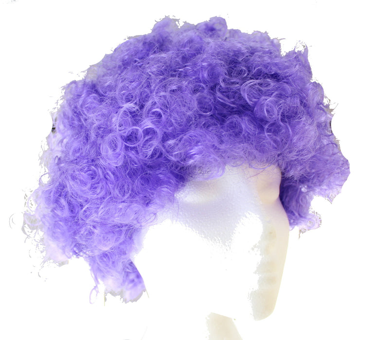 Afro Curly Wig Fancy Multi Colour Party Funky Clown Hair Disco Circus Fancy Dress-Purple
