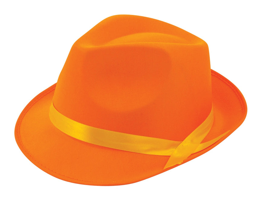 Adult Neon Fluorescent Gangster Hat Fancy Dress Accessory