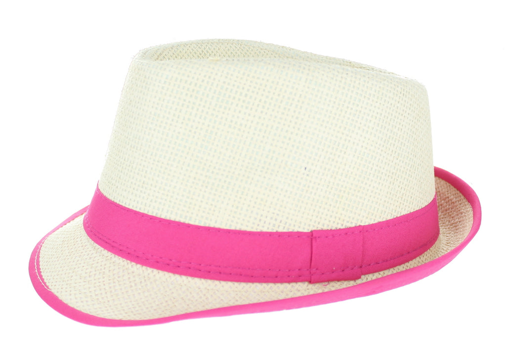 Straw Gangster Hat With Neon Band Fancy Dress Accessory